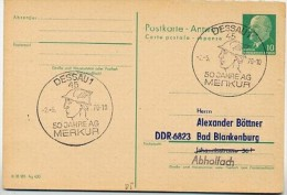 Sost. MERKUR HERMES DESSAU 1970 Auf DDR P77A Antwort-Postkarte ZUDRUCK BÖTTNER #4 - Mythology