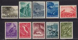 2156. Suriname, 1953-1954, Definitive, MH (*) And Used ( Toned, 10 Values) - Surinam