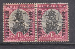SOUTH AFRICA:  1931, 1d OFFICIAL, Inv Wmk.,pair, Used - South Africa (...-1961)
