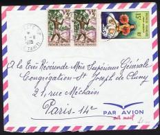 1965  Lettre Avion Pour La France  Pêcheur  Yv 6 X2, Danseuse Tahitienne PA 7 - Polynésie Française