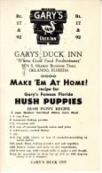 U.S. AD CARD  GARY'S DUCK INN,  FLA.  PRE-CANCELS - United States