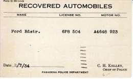 U.S. POLICE  REPO.  1934  RDSTR. CARD  CALIF. - Covers & Documents