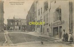 Cpa 54 St Nicolas Du Port, Place Du Vieux Marché, Animée, Commerces... - Saint Nicolas De Port
