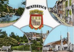 Cpsm Colorisée, Multivues MONTBRISON,  Stade Beauregard, Rue Avec Canal, Parc, Vue Générale (23.08) - Montbrison