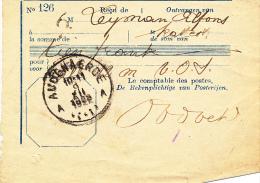 BEWIJS VAN STORTING  AUDENAERDE 1923  ZIE ZEGEL  RUGZIJDE
