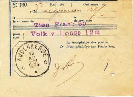 BEWIJS VAN STORTING  AUDENAERDE 1924  ZIE ZEGEL  RUGZIJDE