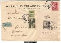 11609 By Plane Incoming Mail Tel Aviv From Prag 12/04/1938 - Briefe U. Dokumente