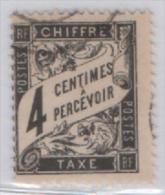 Fra438 France, Taxe, 1881, Type DUVAL, Yvert N. 12, 4 Cents Noir, A Percevoir - Taxes