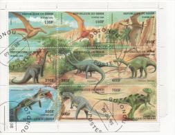 Fra440 Fauna Prehistoric Animal Dinosaurus, Dhino, Dinosauri, Fauna Preistoria, Uccelli, Birds, Pesci, Fish, Benin 1998 - Benin – Dahomey (1960-...)