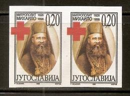 2095. Yugoslavia, 1998, Red Cross Surcharge, Imperforated In Pair, MNH (**) - Sin Dentar, Pruebas De Impresión Y Variedades