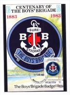"27.07.1983  -  Schmuckkarte  ""Centenary Of The Boy´s Brigade  1883-1983""  -  O  Gestempelt  -  S. Scan  (st. Kitts 001) - St.Kitts Und Nevis ( 1983-...)"