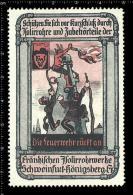 Original German Poster Stamp Cinderella Reklamemarke Devil Teufel Demon Construction  Fire Firefighters Feuer Feuerwehr - Firemen