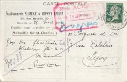 10C PASTEUR PERFORE SR SEUL SUR CARTE POSTALE ETS SILBERT ET RIPERT 26/5/23 - Marcophilie (Lettres)
