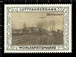 Original German Poster Stamp (cinderella Reklamemarke) Luftfahrerdank - Aviation Airplane Flugzeug  Zug Train - Trains