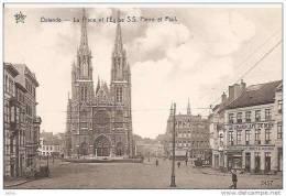 OSTENDE PLACE ET EGLISE S.S PIERRE ET PAUL (COMMERCE ET GRAND CAFE DU MIDI) REF14165 - Oostende