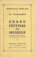 FESTIVAL DE MUSIQUE. LA TOURLANDRY (49)  1950 - Programs