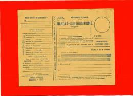 MANDAT CONTRIBUTIONS 1932 IMPOTS DIRECTS ET TAXES ASSIMILEES  POSTES ET TELEGRAPHES TELEPHONES  IMPRIME BON ETAT - Documents De La Poste
