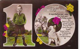 CHILDREN -  10TH BIRTHDAY CARD. BOY WITH DOG - Enfants