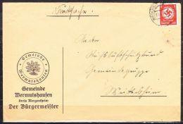 Vordruckbrief, Gemeinde Wermutshausen, EF Dienstmarke, Niederstetten Nach Weikersheim 1938 (42152) - Allemagne