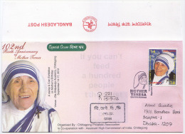 Bangladsh 2012 102nd Birth Anniversary Mother Teresa 1st Print RED Flip Official Postmark & Cover Regd - Mother Teresa