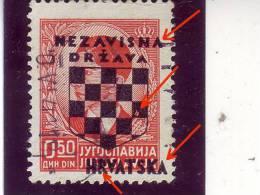 COAT OF ARMS-0-50 DIN-OVERPRINT-NDH-ERROR -CROATIA-1941 - Kroatien
