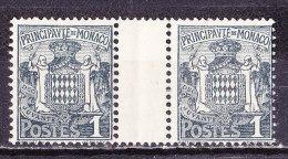 Monaco 1924 -Cent 1 Coppia Nuova MNH** Con Interspazio - Zonder Classificatie