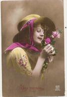 Femme Et Fleurs Pensée - Mode Chapeau  édition Dix TTB écrite - Femmes