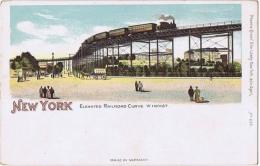 U.S.A. NEW YORK - ELEVATED RAILROAD CURVE - 1900s  EDW. LOWEY POSTCARD - Unclassified