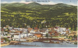 Coeur D'Alene ID Idaho, View Of Town From Air, Lake, C1940s/50s Vintage Linen Postcard - Coeur D'Alene