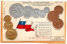 Chile Coins & Flag Patriotic 1900 Postcard - Monete (rappresentazioni)