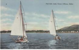 Coeur D'Alene ID Idaho, Sail Boats On Lake, C1940s Vintage Linen Postcard - Coeur D'Alene