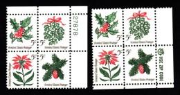 #1254-57, Plate # & Mr. ZIP Blocks Of 4 US Stamps, 1964 Christmas Stamps - Plate Blocks & Sheetlets