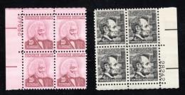 #1282 & #1290, Plate # Blocks Of 4 US Stamps, President Abraham Lincoln, Frederick Douglas - Plate Blocks & Sheetlets