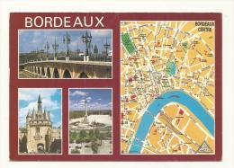 Cp, Carte Géographique, Bordeaux, Plan 45, Voyagée 1990 - Landkaarten