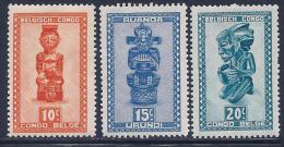 Ruanda Urundi, Scott # 90-2 Mint Hinged Carved Figures, 1948 - 1948-61: Neufs