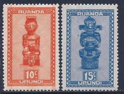 Ruanda Urundi, Scott # 90-1 Mint Hinged Carved Figures, 1948 - 1948-61: Mint/hinged