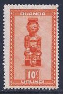 Ruanda Urundi, Scott # 90 Mint Hinged Carved Figures, 1948 - Ruanda-Urundi