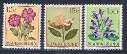 Ruanda Urundi, Scott # 114-5, 124 MNH Flowers, 1953 - 1948-61: Mint/hinged