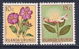 Ruanda Urundi, Scott # 114-5 Mint Hinged Flowers, 1953 - Ruanda-Urundi