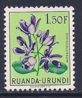 Ruanda Urundi, Scott # 124 MNH Flowers, 1953 - 1948-61: Mint/hinged
