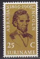 2190. Suriname, 1965, Centenary Since Death Of A. Lincoln, MH (*) - Surinam