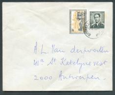 Lettre Affranchissement Mixte Dont Baudouin Marchand à 4Fr50. Obl. Sc Ambulant BRUXELLES-CHARLEROI Du 3-10-1972 Vers Anv - Postmark Collection
