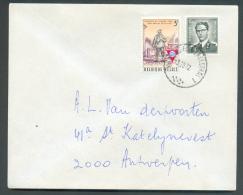 Lettre Affranchissement Mixte Dont Baudouin Marchand à 4Fr50. Obl. Sc Ambulant BRUXELLES-HERBESTHAL 1 Du 3-10-1972 Vers - Postmark Collection