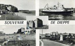 DIEPPE - SEINE MARITIME  (76)  - PEU COURANTE CPSM MULTIVUES DE 1962. - Dieppe