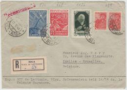 13391 Recommandé De Riga à Ixelles (Bruxelles) 17/08/1948
