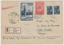 13392 Recommandé De Riga à Ixelles (Bruxelles) 13/07/1948