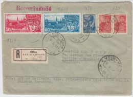 13394 Recommandé De Riga à Ixelles (Bruxelles) 27/07/1948