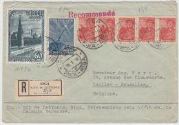 13399 Recommandé De Riga à Ixelles (Bruxelles) 19/07/1948