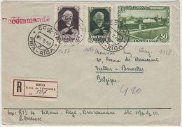13401 Recommandé De Riga à Ixelles (Bruxelles) 08/07/1948