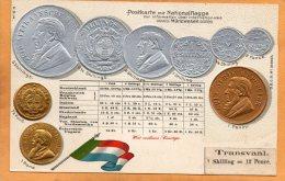 Transvaal Coins & Flag Patriotic 1900 Postcard - Monnaies (représentations)